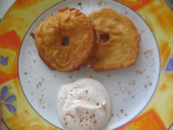 Knusper-Apfelringe mit Zimtcreme - Rezept