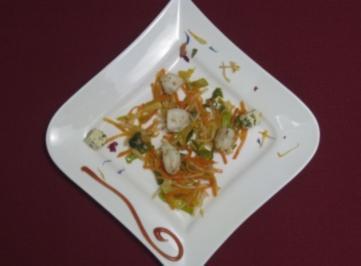 Gemüsestreifen karamellisiert mit gefüllten Mini-Sepien - Rezept