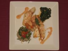 Edelfisch-Teller mit Wildreis und jungem Spinat - Rezept