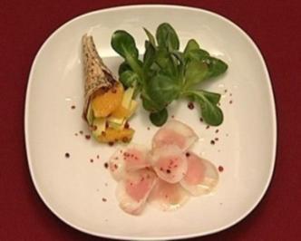 Rezept: Avocado und Orange an einem Carpaccio von Seeteufel und Tunfisch