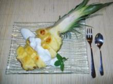 Gratinierte Ananas an Pfirsich-Mascarpone-Creme - Rezept