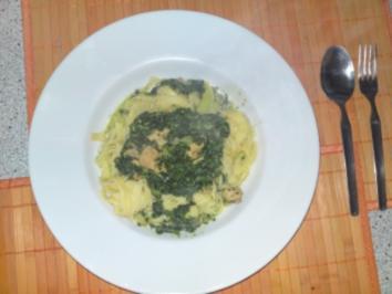 Rezept: Bandnudeln mit Spinat u. Putenbrust