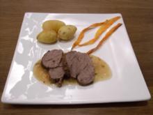 Angusrind an Pfeffersoße mit mediterranen Kartoffeln und frittierten Möhren - Rezept