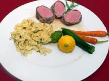 Saltimbocca vom Kalbsfilet mit Rosmarinspätzle und Zwerggemüse - Rezept