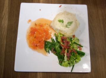Ziegenkäse im Brickteig mit Tomaten an Kräutersalat und Knusperschinken - Rezept