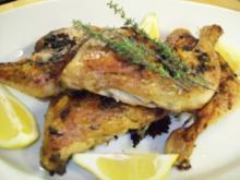 Gegrillte Hähnchenkeulen mit Zitrone und Thymian - Rezept