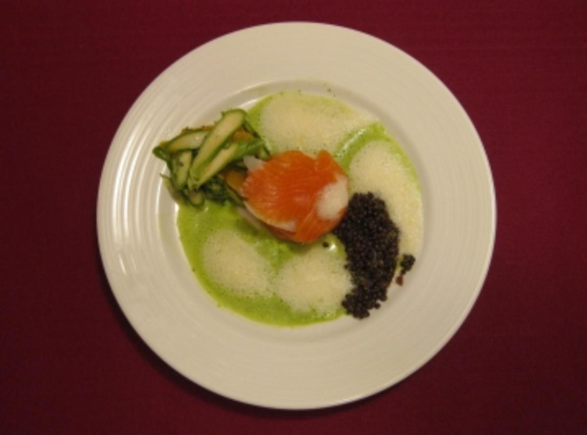 Spargel Lachs Lasagne Mit Beluga Linsen Und Wasabischaum Rezept