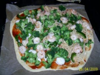 Rezept: Spaghettipizza mit Garnelen