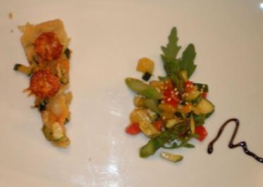 Chorizotarte und grüner Spargel mit Avocado in Honig-Sesamvinaigrette - Rezept