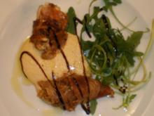 Seeteufelbäckchen im Parmaschinkenmantel an Tomatenpesto und Rosmarinpolenta - Rezept