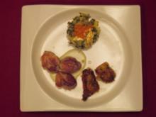 Wachtelbrustfilet mit Macaire-Kartoffeln an Roquefortsauce und Mangold - Rezept