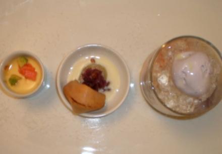 Parfait mit exotischen Früchten und Süßkartoffeln an Kokosfleisch auf Eis - Rezept