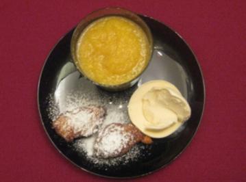 Mango-Kaltschale mit Krapfen und Vanilleeis - Rezept