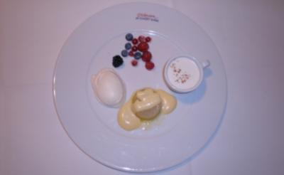 Brownies, Limetten-Prosecco-Gelee, geeistes vom Kaffee und weiße Mousse au chocolat - Rezept