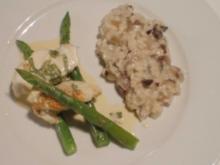 Seeteufel an Beurre Blanc mit Sauerampfer, Radicchio-Risotto und grünem Spargel - Rezept