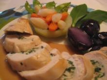 gefüllte  Poulardenbrust mit Bärlauchfarce , Kohlrabikörbchen & violetten Kartoffeln - Rezept