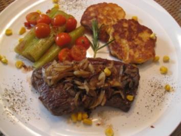 Amerikanisches  Rumpsteak glasierten Zwiebeln , Staudensellerie mit Cocktailtomaten & Maispfannkuchen - Rezept