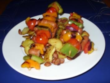 Linda´s Würstchen-Gemüsespieße mit gerösteten Wurst-Kartoffeln - Rezept