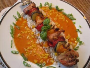 Truthahn - Gemüsespieß auf Reissockel an einer pikanten Sauce - Rezept