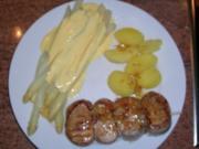Filetspieß im Speckmantel, mit Spargel ganz klassisch und neuen Kartoffeln - Rezept