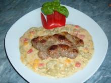 Fleisch.....Gebratene Koteletts auf Gurken-Paprika-Gemüse - Rezept