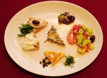 Tarama, Zaziki, Tiropita, Spanakopita, griechischer Salat (Artemis Gounaki) - Rezept