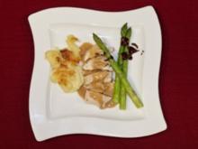 Hühnchen auf der offenen Bierdose mit Calvadosrahmsoße, Apfel-Kartoffelgratin und Schokoladenspargel (Michael Wendler) - Rezept