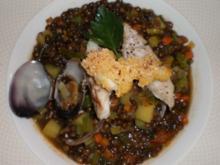Linseneintopf mit Meeresfrüchten und Edelfisch - Rezept