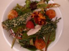 Kaninchenrückenfilet auf Wildkräutersalat - Rezept