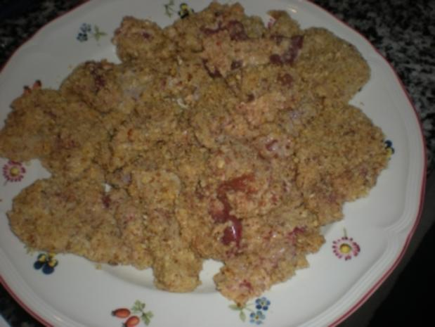Hühnerleber in Nusskruste mit Bratkartoffel-Apfel-Pfanne - Rezept - Bild Nr. 2