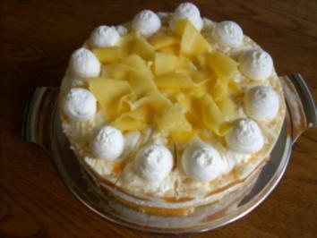 Rezept: Marmorierte Mango-Joghurt-Torte