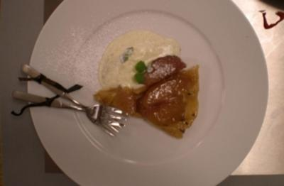 Apfel-Ingwer-Tarte-Tatin mit Vanille-Creme-fraiche - Rezept