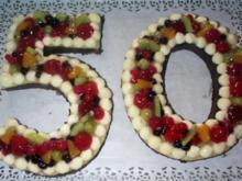 Obstkuchen als Zahl mit Mailänderteig - Rezept