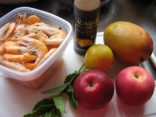 Apfel-Mango-Carpaccio mit Garnelen - Rezept - Bild Nr. 2