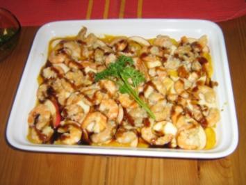 Rezept: Apfel-Mango-Carpaccio mit Garnelen