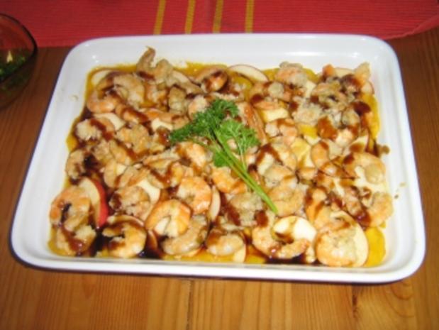 Apfel-Mango-Carpaccio mit Garnelen - Rezept