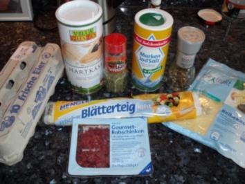 Schlanke Blätterteigschnecken pikant gefüllt - Rezept