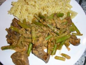Rindergeschnetzeltes mit Bohnen - Rezept