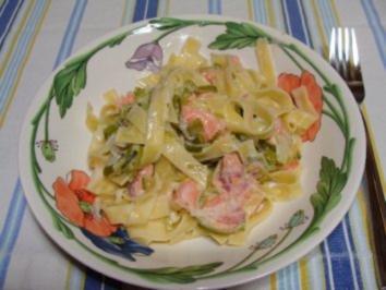 Spaghettini mit Lauch und Räucherfisch in Sahnesoße - Rezept