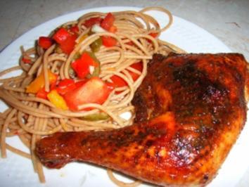 Hähnchenkeule in golden Lackkorsage an Nudelsalat italenische Art - Rezept
