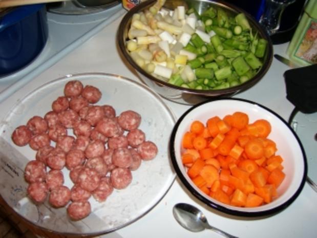 Spargelragout mit Fleischklöschen - Rezept - Bild Nr. 4