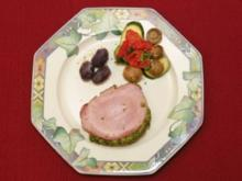 Kräuterkasseler im Brot-Kräuter-Mantel mit geschmortem Gemüse und marmorierten Kartoffeln (Rolli Fritzen) - Rezept