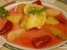 Marokkanisches Flan mit heißen Früchten dazu Grüner Tee mit Minze - Rezept
