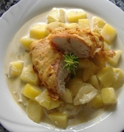 Hähnchenbrust im Schinkenmantel mit Parmesankruste auf Schmorgurkenragout - Rezept