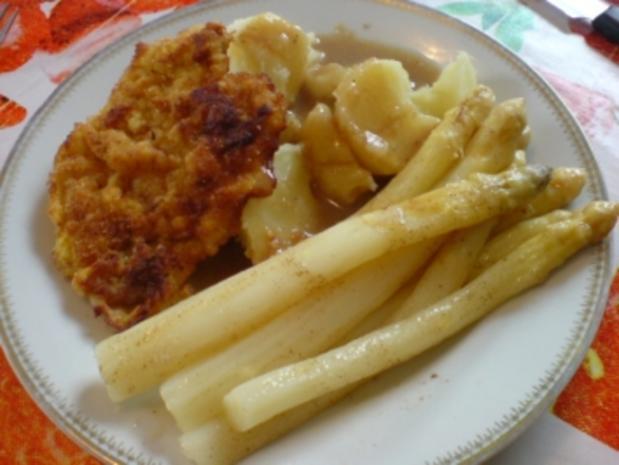Stangenspargel mit Schnitzel und Salzkartoffeln - Rezept