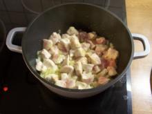 Putengulasch in Currysauce mit Bohnen - Rezept