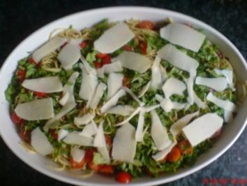 Spaghetti mit grünem Pesto und Rucola - Rezept