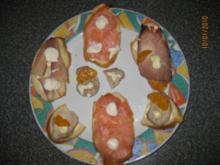 Canapé Roquefort,Birne,Walnuss, Trauben - Rezept