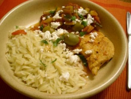 Griechisches Hähnchensteak an Schmorgemüse mit Kritharaki>> - Rezept