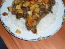 Putenleber mit Apfel auf Reis - Rezept